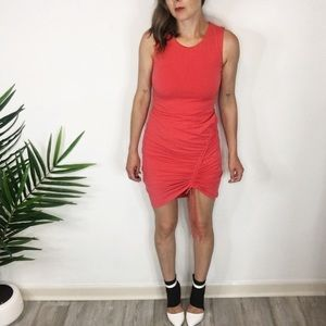 NWT BAR III coral dress ruched tie front